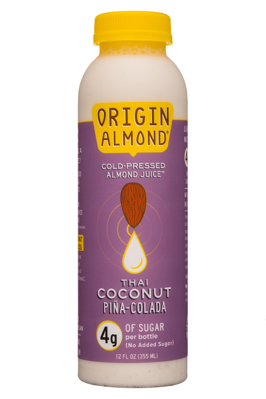 Origin Almond: OriginAlmond-12oz-CPAlmondJuice-ThaiCoconutPinaColada-Front