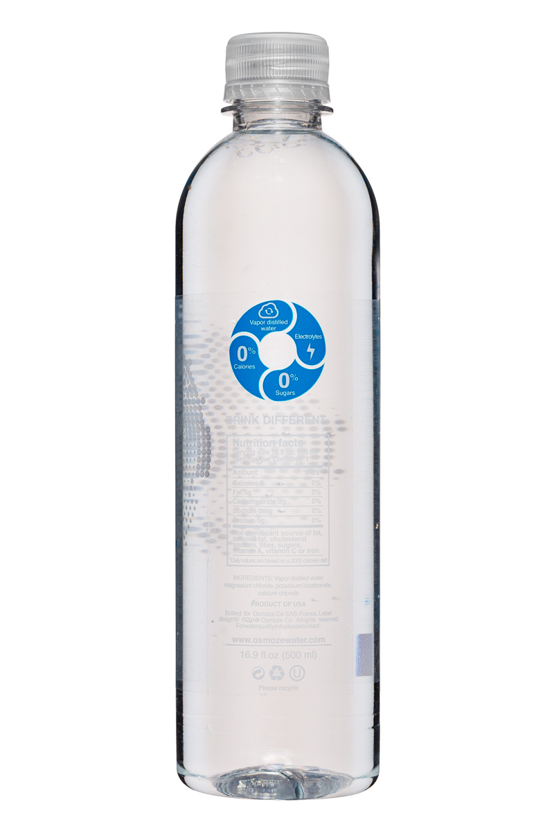 Osmoze Water: OsmozeWater-17oz-VaporDistilled-Electrolytes-Facts