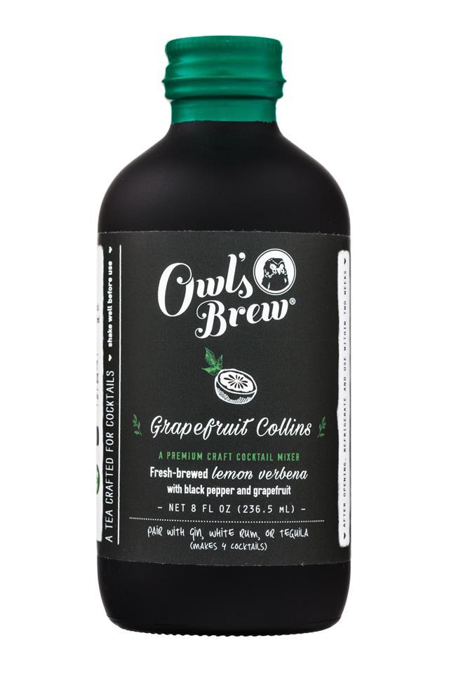 Owl's Brew: OwlsBrew-8oz-CocktailMixer-GrapefruitCollins-Front
