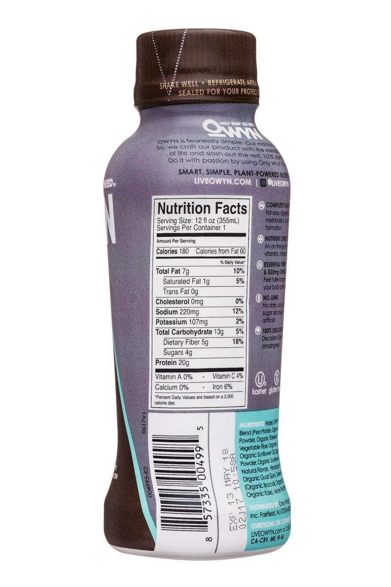 OWYN: Only What You Need: Owyn-12o-ProteinShake-DarkChoc-Facts