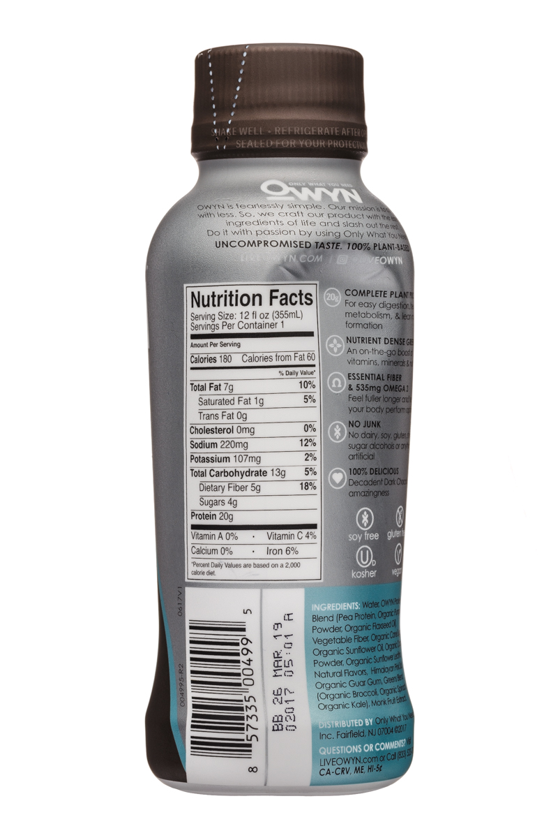 OWYN: Only What You Need: OWYN-12oz-ProteinShake-DarkChoc-Facts