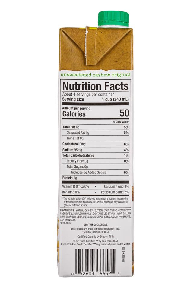 Pacific: Pacific-32oz-CashewMilk-Original-Facts