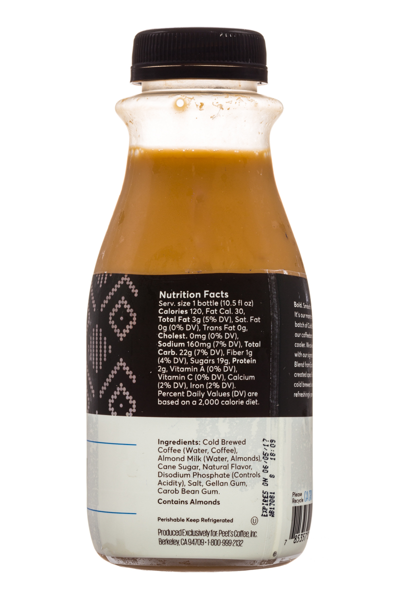 Peet's Coffee: Peets-ColdBrew-10oz-AlmondMilk-Facts