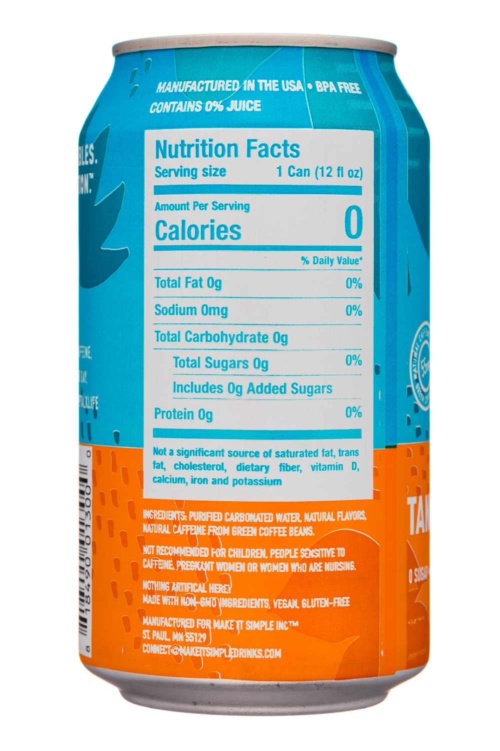 Pep Talk: PepTalk-12oz-CaffeinatedSparkling-TangerineBlack-Facts