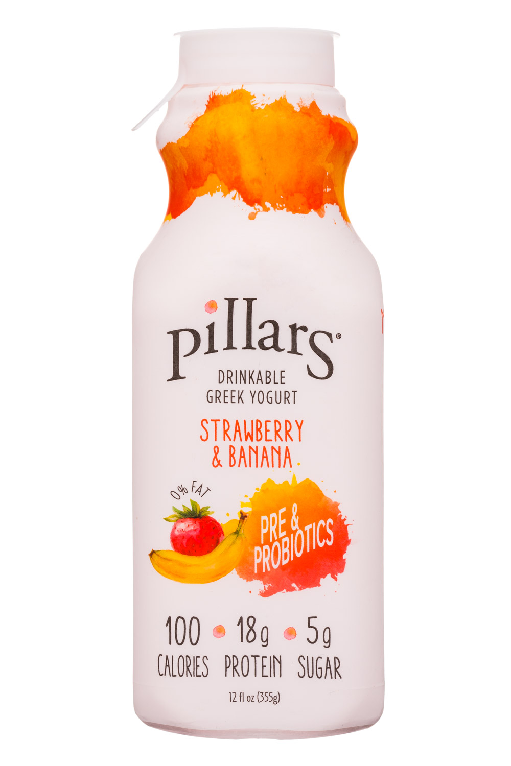 Pillars Drinkable Greek Yogurt: Pillars-12oz-RTDGreekYogurt-StrawberryBanana-Front