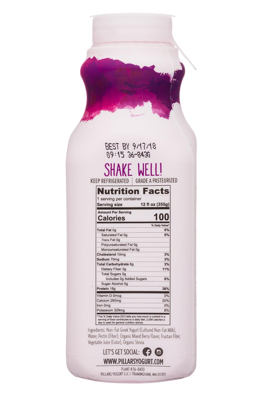 Pillars Drinkable Greek Yogurt: Pillars-12oz-RTDGreekYogurt-MixedBerry-Facts