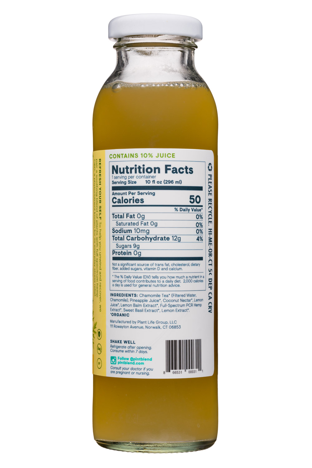 PLNT Blend: HempInfused-PineappleChamomile-Facts