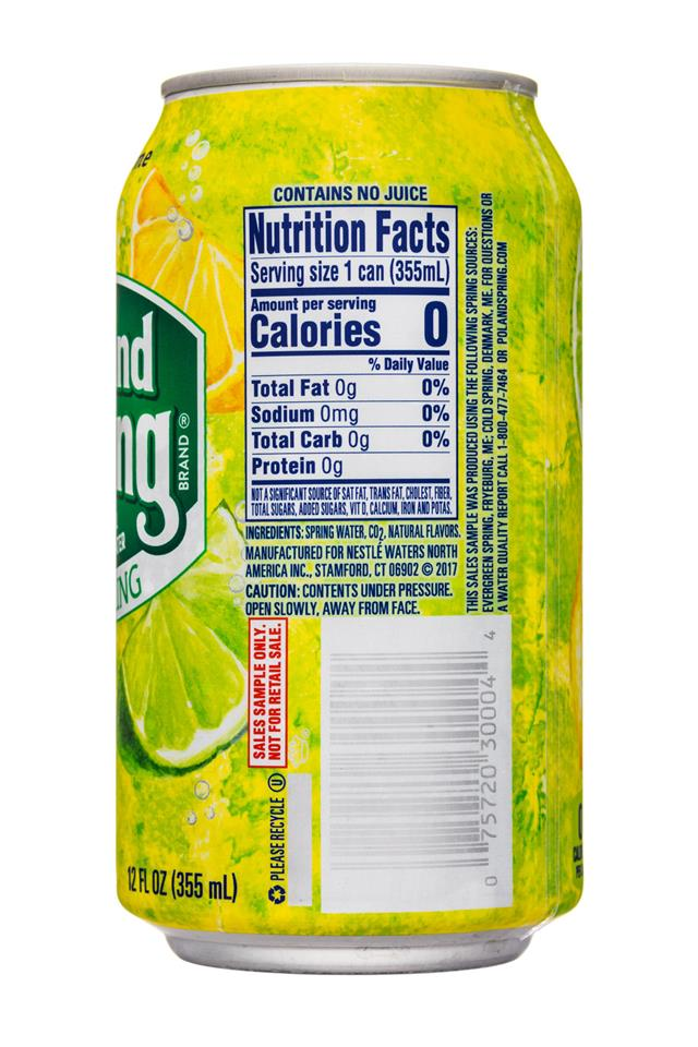Poland Spring Nature's Blend: PolandSpring-12oz-Sparkling-LemonLime-Facts