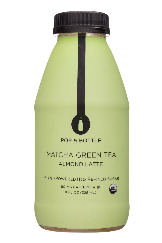 Pop & Bottle: PopAndBottle-11oz-AlmondLatte-MatchaGreenTea-Front