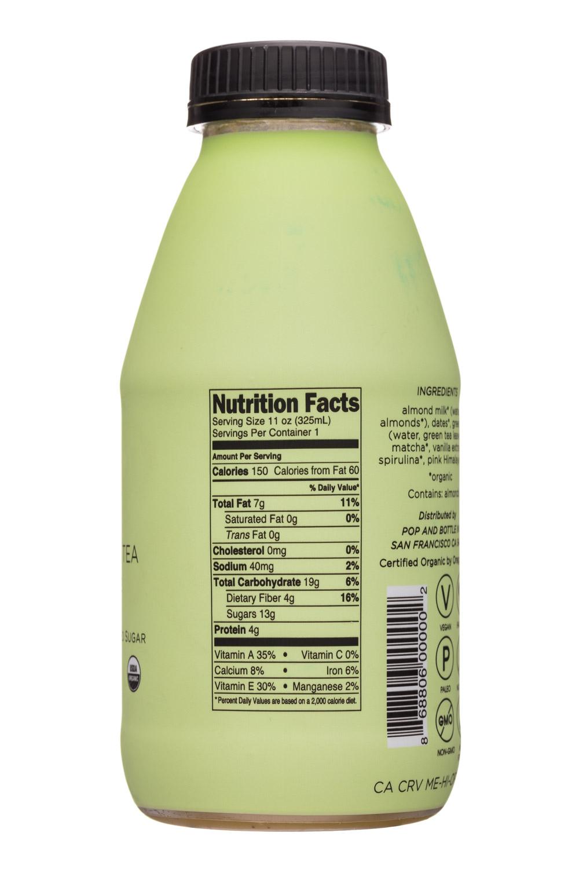 Pop & Bottle: PopAndBottle-11oz-AlmondLatte-MatchaGreenTea-Facts