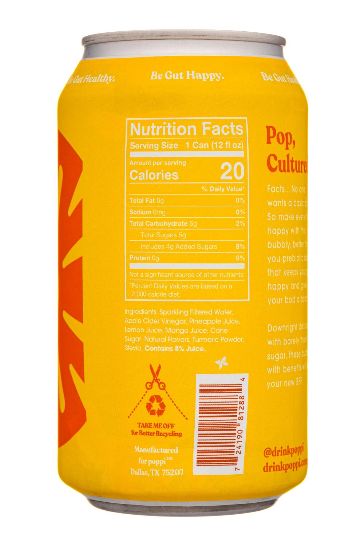 Poppi: Poppi-12oz-5gSugarPrebioticSoda-PineappleTurmeric-Facts