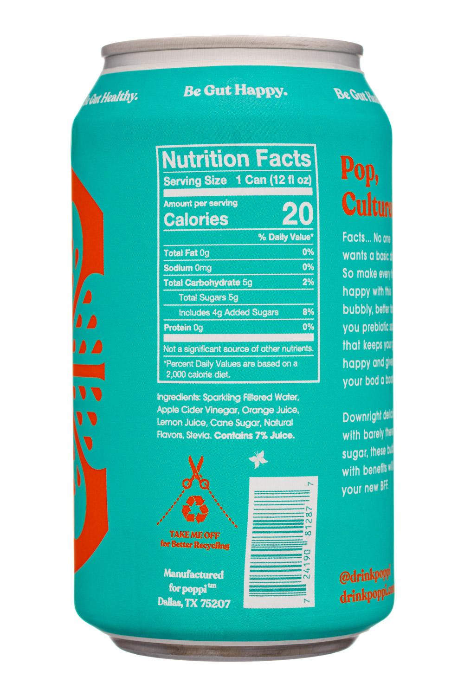 Poppi: Poppi-12oz-5gSugarPrebioticSoda-Orange-Facts