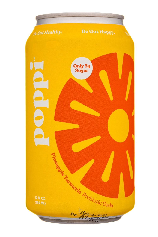 Poppi: Poppi-12oz-5gSugarPrebioticSoda-PineappleTurmeric-Front