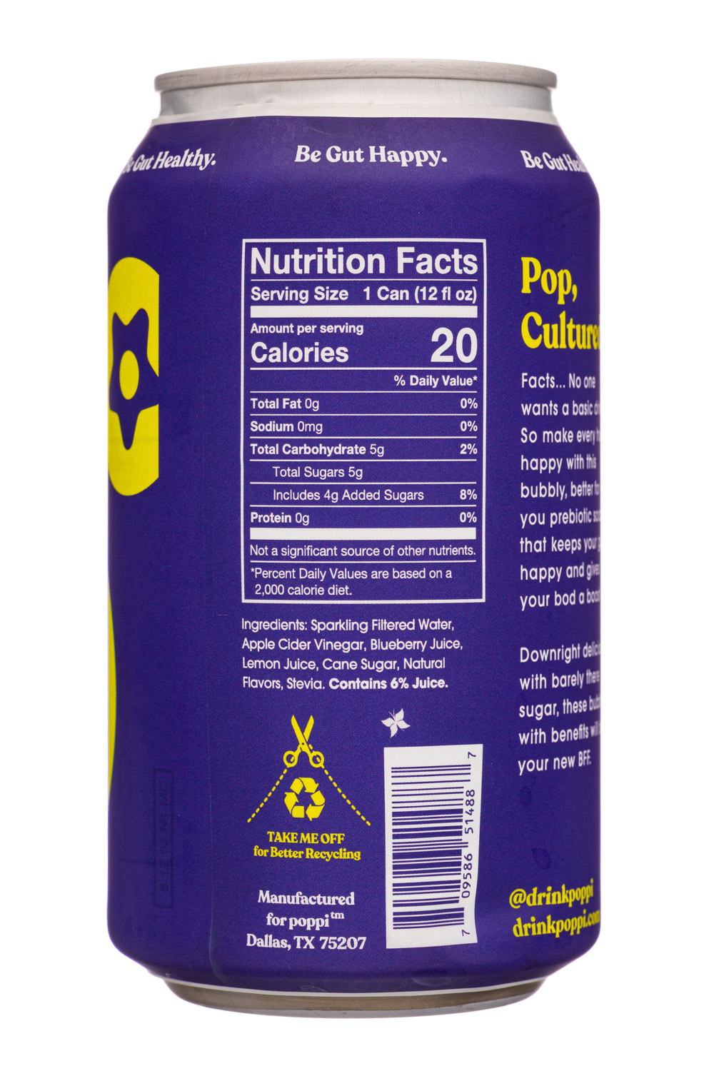 Poppi: Poppi-12oz-5gSugarPrebioticSoda-BluebSage-Facts