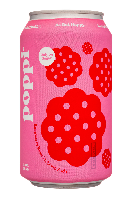 Poppi: Poppi-12oz-5gSugarPrebioticSoda-RaspRose-Front