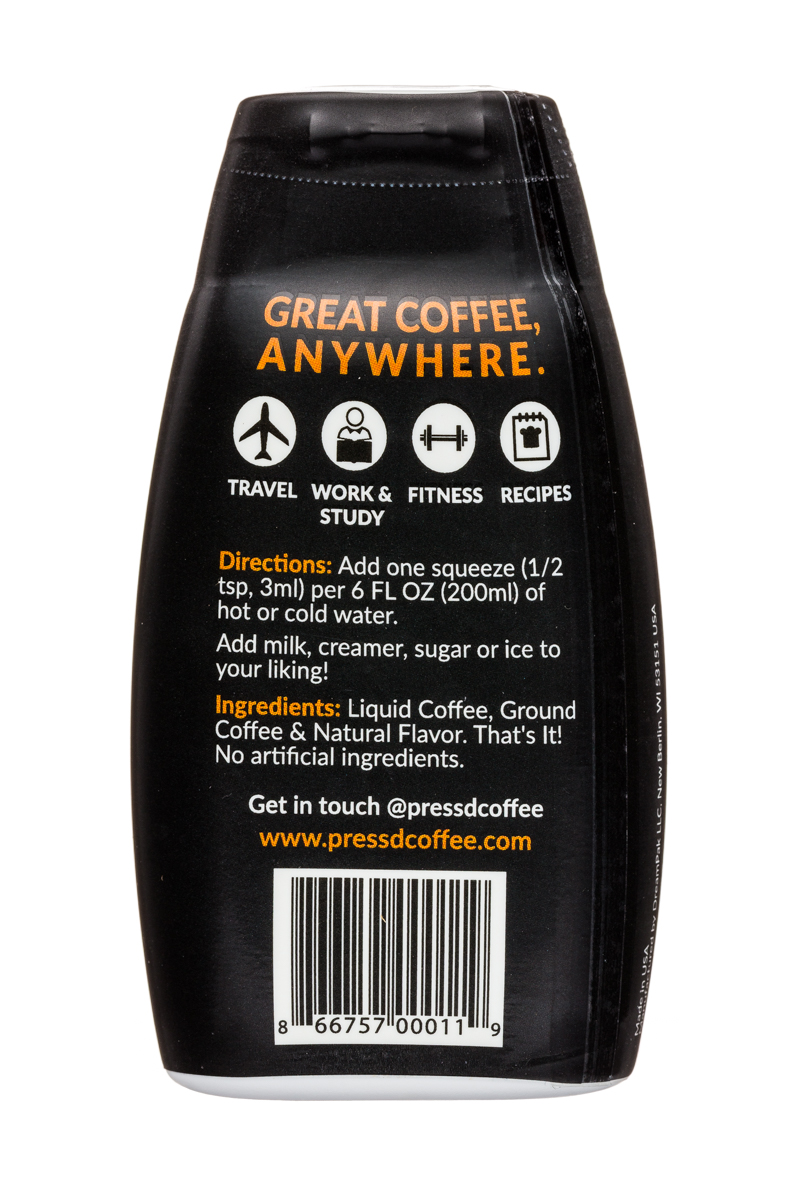 Press'd Coffee: Pressd-2oz-CoffeeConcentrate-Caramel-Facts