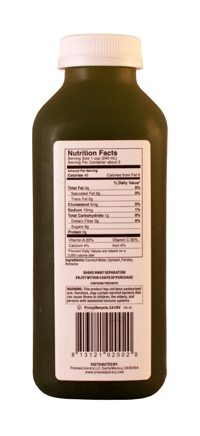 Pressed Juicery: Pressed GreenCoco Facts