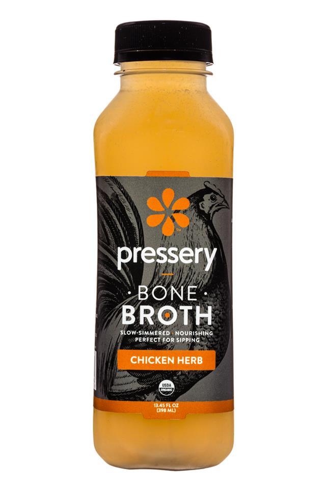 Pressery Bone Broth: Pressery-13oz-Broth-ChickenHerb-Front