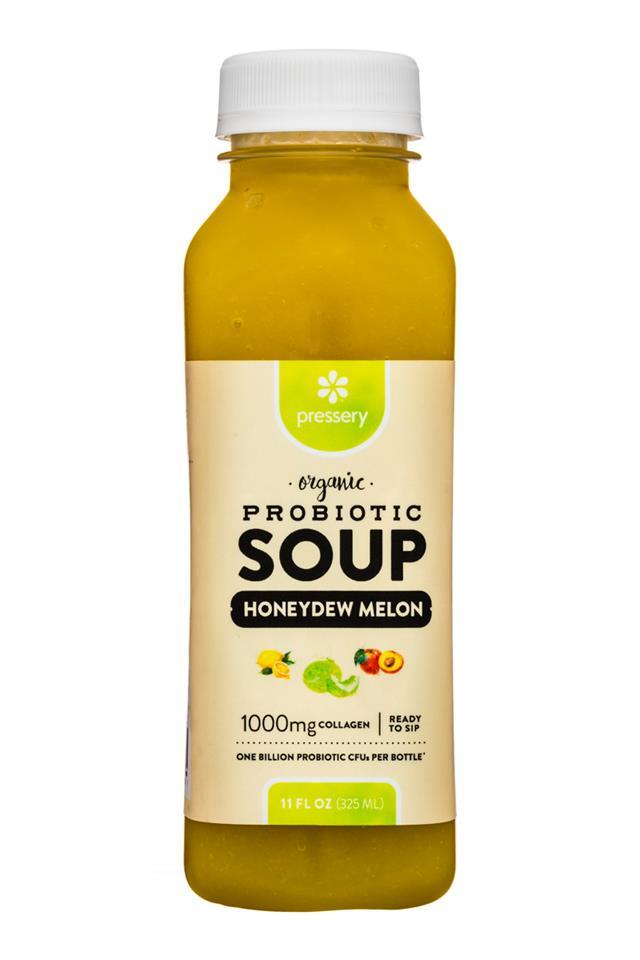 Pressery Probiotic Soup: Pressery-11oz-ProbioticSoup-HoneydewMelon-Front