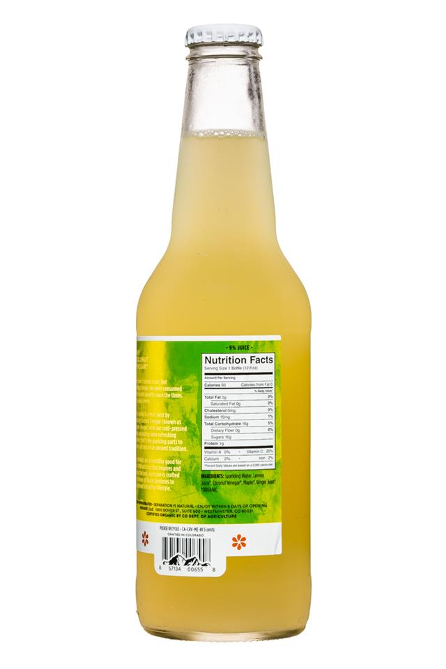 Pressery Sparkling Drinking Vinegars: Pressery-DrinkingVinegar-12oz-LemonGinger-Facts