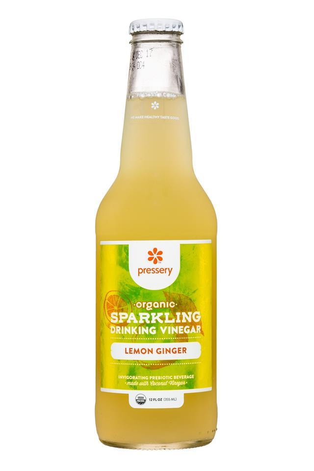 Pressery Sparkling Drinking Vinegars: Pressery-DrinkingVinegar-12oz-LemonGinger-Front