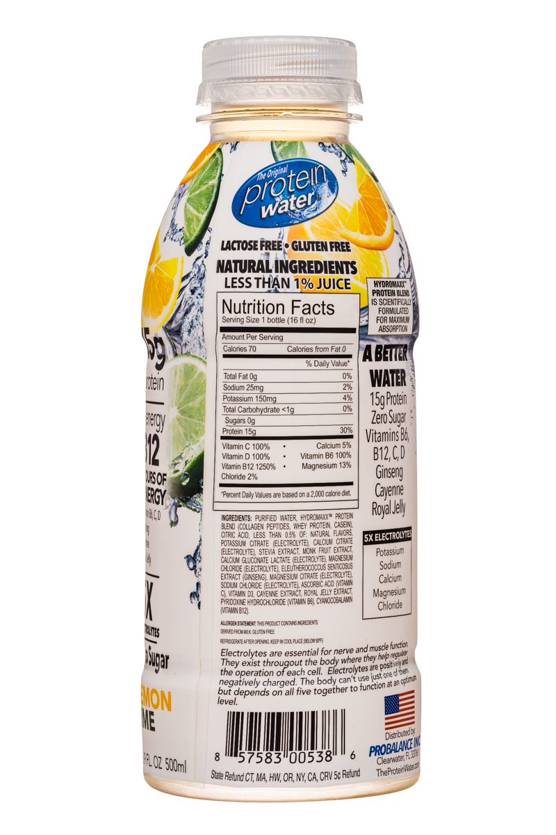 Protein Water: ProteinWater-17oz-LemonLime-Facts