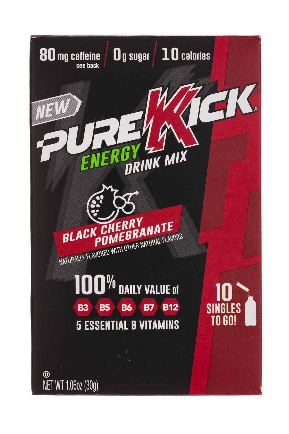 Pure Kick: PureKick-1oz-EnergyDrinkMix-BlackCherryPom-Front