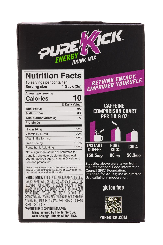 Pure Kick: PureKick-1oz-EnergyDrinkMix-MangoAcai-Facts
