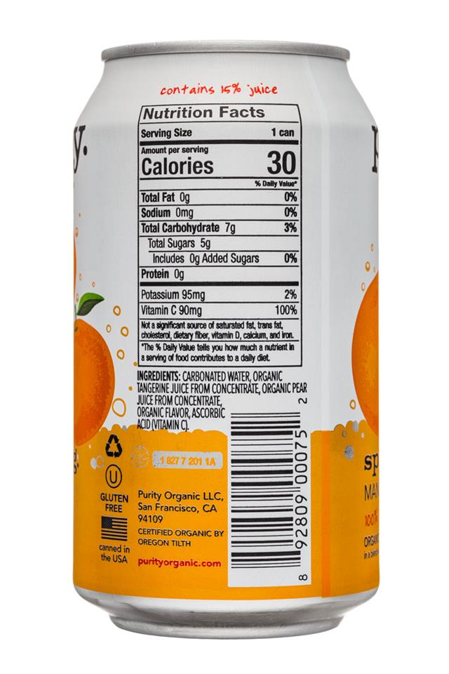 Purity Organic Sparkling: Purity-12ozCan-Sparkling-Mandarin-Facts