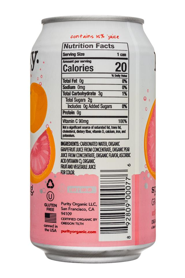 Purity Organic Sparkling: Purity-12ozCan-Sparkling-Grapefruit-Facts