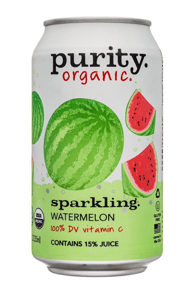 Purity Organic Sparkling: Purity-12ozCan-Sparkling-Watermelon-Front