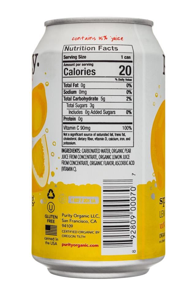 Purity Organic Sparkling: Purity-12ozCan-Sparkling-Lemon-Facts