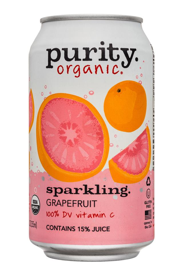Purity Organic Sparkling: Purity-12ozCan-Sparkling-Grapefruit-Front