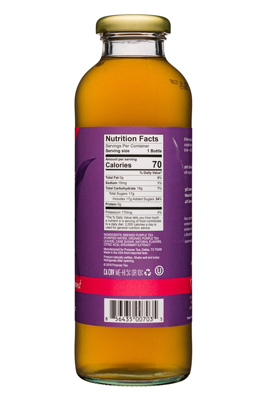 Purpose Purple Tea: PurposeTea-16oz-PurpleTea-HintSweet-WatermelonMint-Facts
