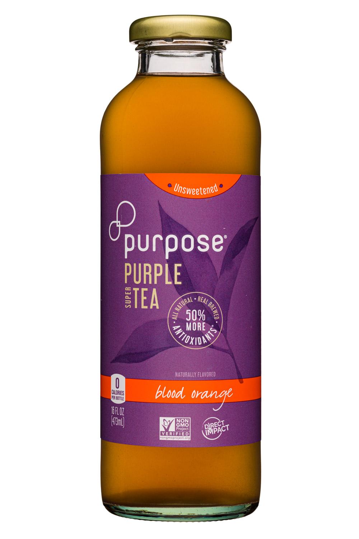 Purpose Purple Tea: PurposeTea-16oz-PurpleTea-Unsweet-BloodOrange-Front