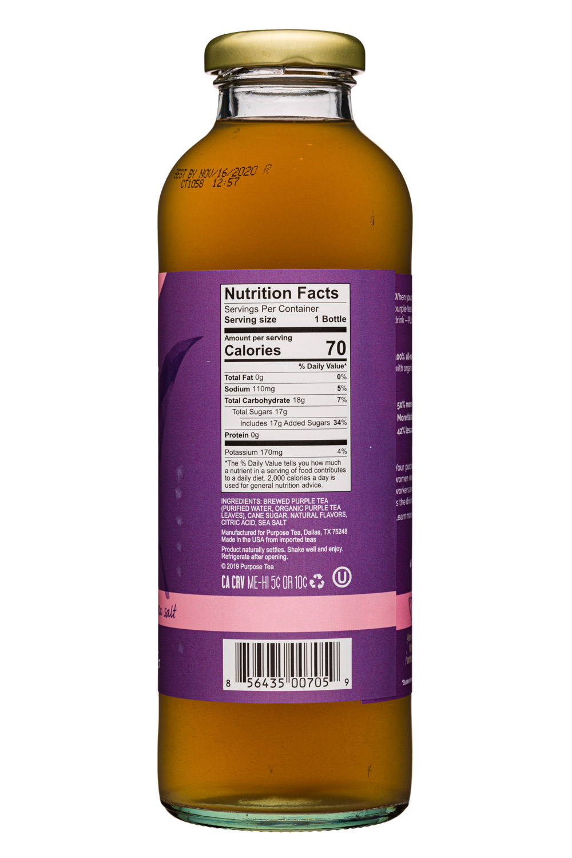 Purpose Purple Tea: PurposeTea-16oz-PurpleTea-HintSweet-GrapefruitLimeSalt-Facts
