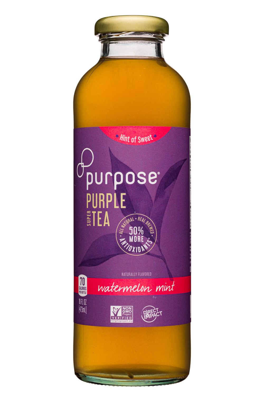 Purpose Purple Tea: PurposeTea-16oz-PurpleTea-HintSweet-WatermelonMint-Front