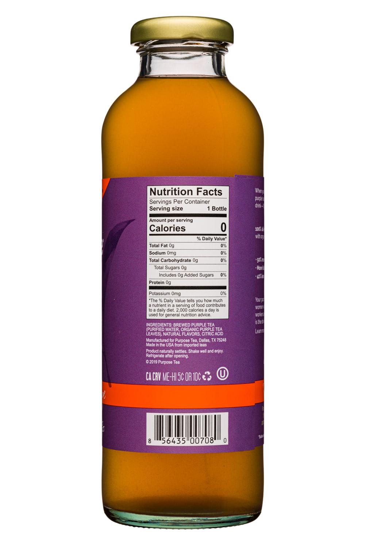 Purpose Purple Tea: PurposeTea-16oz-PurpleTea-Unsweet-BloodOrange-Facts