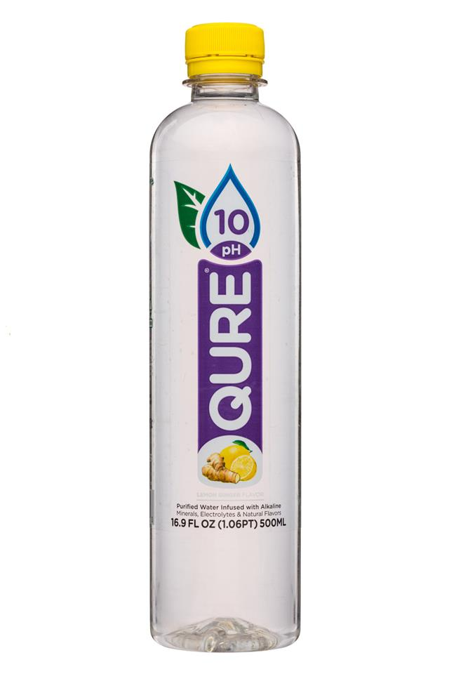 Qure: Qure-17oz-10PHWater-LemonGinger-Front