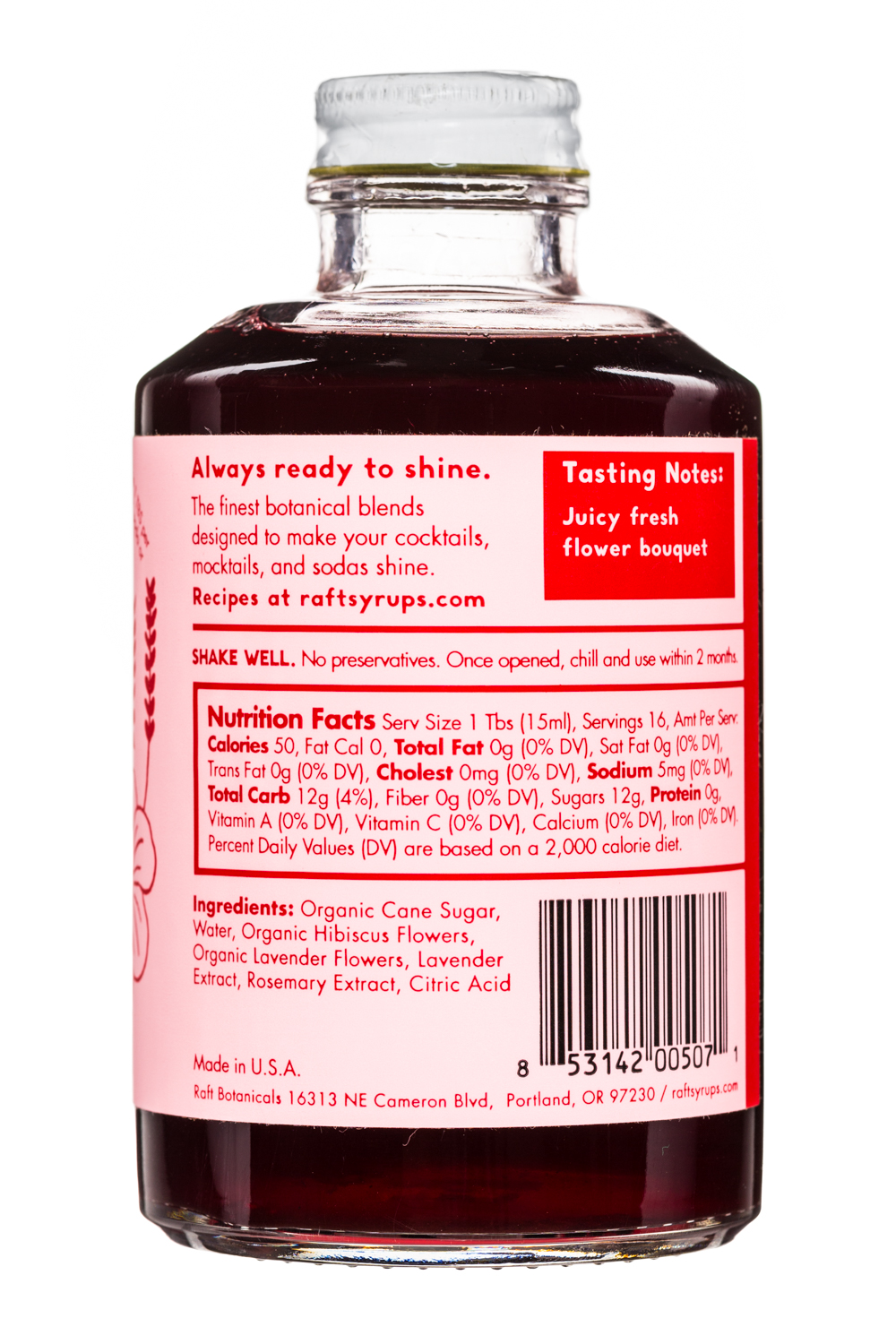Improper Goods: ImproperGoods-Raft-Syrup-8oz-HibiscusLavender-Facts