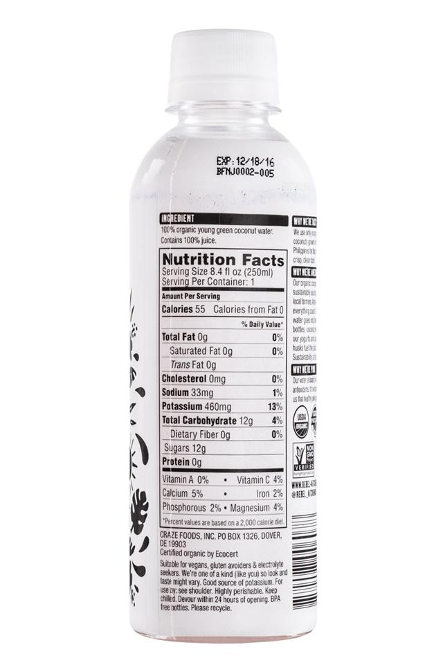Rebel Kitchen Coconut Water: RebelKitchen-CoconutWater-8oz-Facts