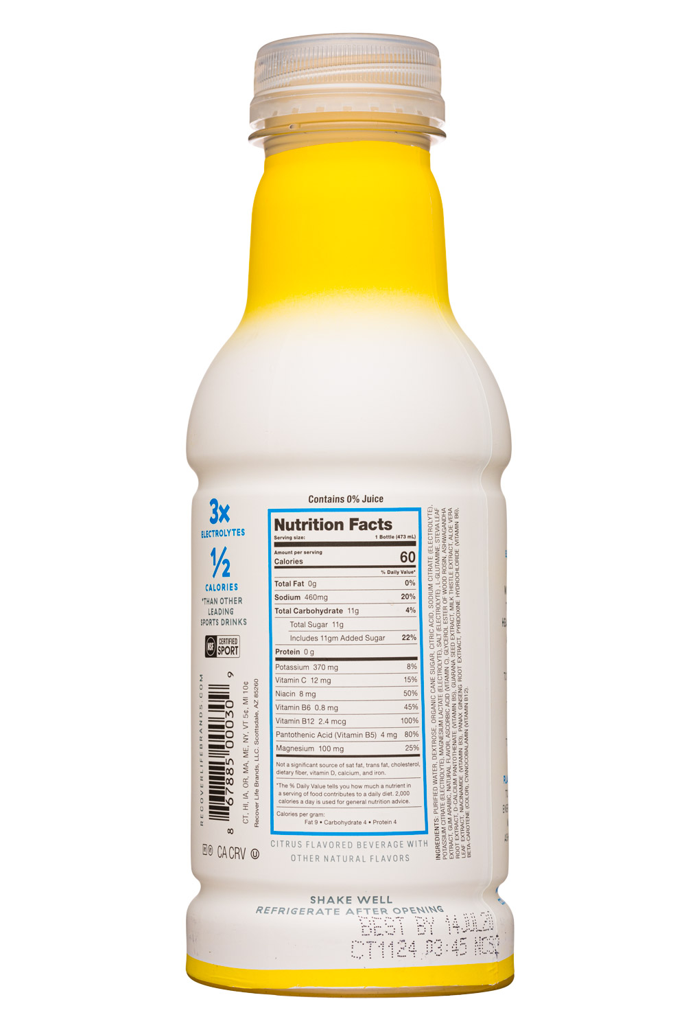 Recover 180°: Recover180-16oz-Hydration-Citrus-Facts