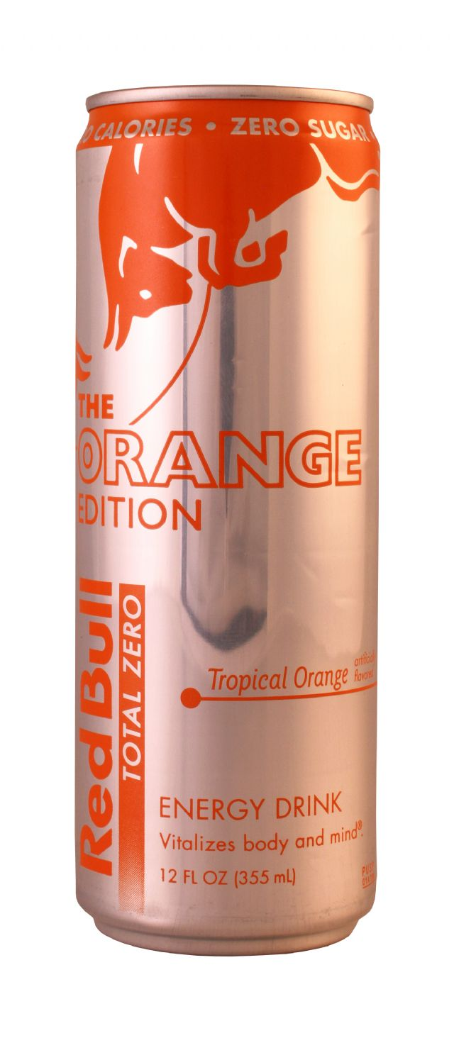 The red bull orange edition orange:: energy drink editions.