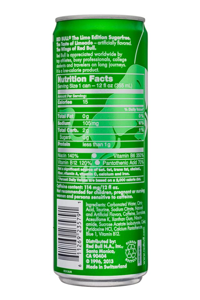 Red Bull Editions: RedBull-12oz-SugarFree-LimeEdition-Limeade-Facts
