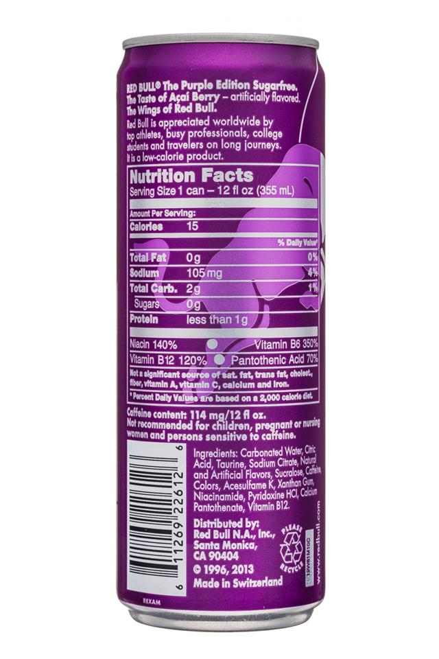 Red Bull Editions: RedBull-12oz-SugarFree-PurpleEdition-Acai-Facts