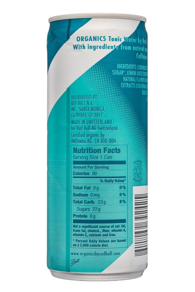 Red Bull Organics: RedBull-8oz-Organics-TonicWater-Facts