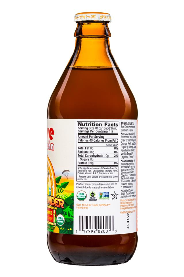 Revive Kombucha: ReviveKombucha-12oz-TropicWonder-OrangeCayenne-Facts