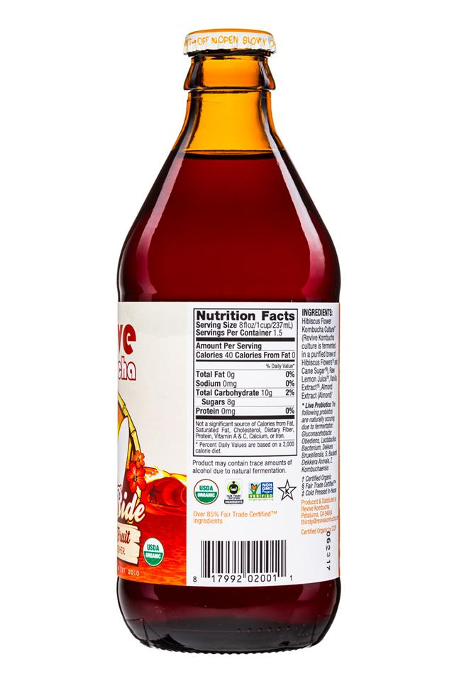 Revive Kombucha: ReviveKombucha-12oz-FreeRide-HibiscusFruit-Facts