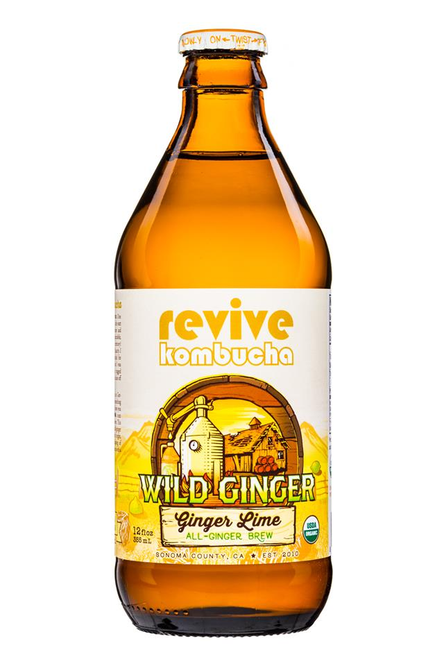 Revive Kombucha: ReviveKombucha-12oz-WildGinger-GingerLime-Front
