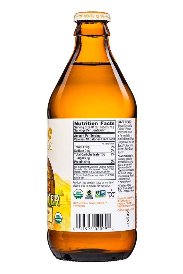Revive Kombucha: ReviveKombucha-12oz-WildGinger-GingerLime-Facts